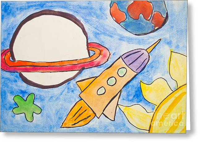 Childish Dreams Greeting Cards - Kids painting of universe with planets and stars Greeting Card by Aleksandar Mijatovic