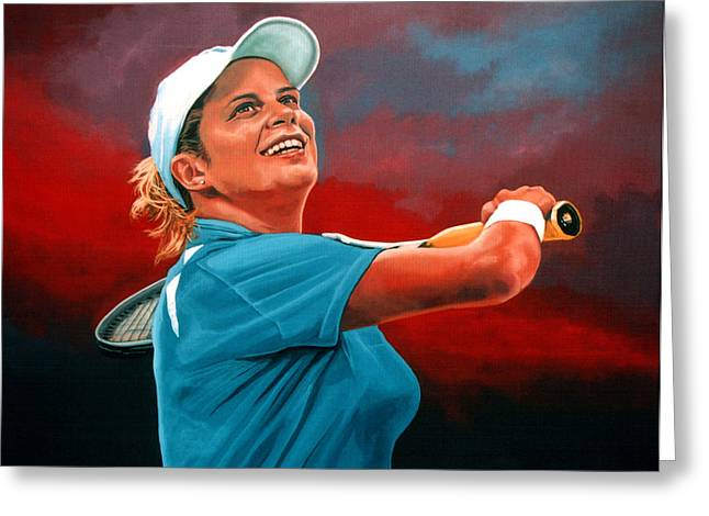 Us Open Greeting Cards - Kim Clijsters Greeting Card by Paul  Meijering