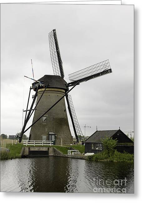 Outbuildings Greeting Cards - Kinderdijk Windmill and Barn Greeting Card by Teresa Mucha