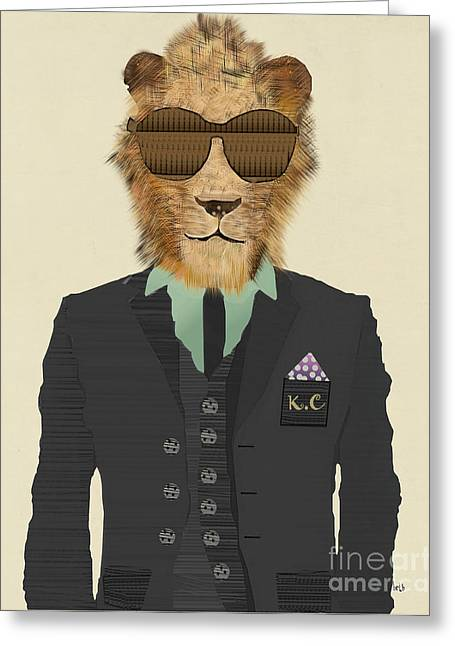 Cool Lion Greeting Cards - King Cool Greeting Card by Bri Buckley