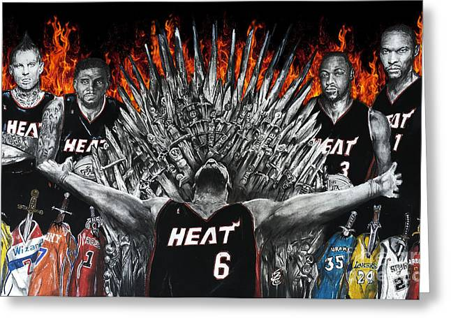 Chris Bosh Greeting Cards - King James And His Court Greeting Card by S G Williams