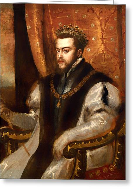 Sepulcher Greeting Cards - King Philip II of Spain Greeting Card by Titian
