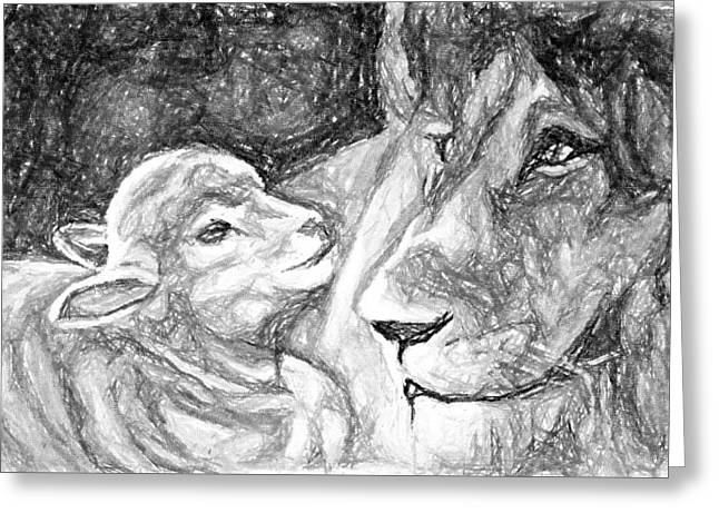 Lion And Lamb Greeting Cards - Kingdom of Peace Greeting Card by Nana Gale Van