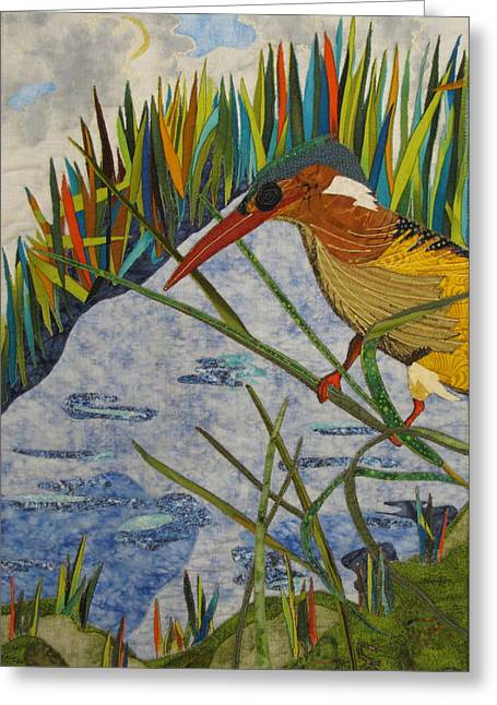 Collage Tapestries - Textiles Greeting Cards - Kingfisher Greeting Card by Lynda K Boardman