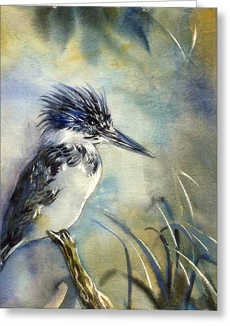 Alfred Ng Watercolor Greeting Cards - Kingfisher Watercolor Greeting Card by Alfred Ng