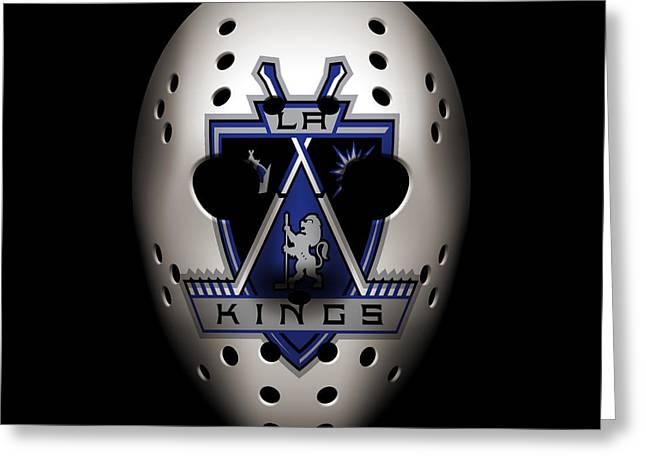 Los Angeles Kings Greeting Cards - Kings Goalie Mask Greeting Card by Joe Hamilton