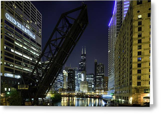 Night Life Greeting Cards - Kinzie Street railroad bridge at night Greeting Card by Sebastian Musial