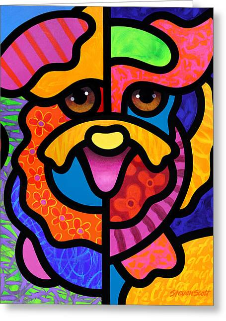 Dog Abstract Greeting Cards - Happy Dog Greeting Card by Steven Scott