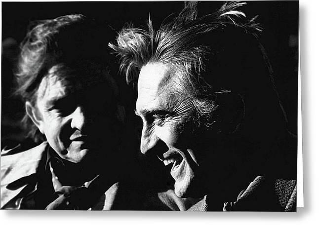 Kirk Douglas Greeting Cards - Kirk Douglas Laughing Johnny Cash Old Tucson Arizona 1971 Greeting Card by David Lee Guss