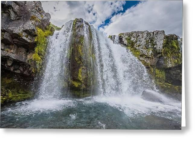 Natural World Greeting Cards - Kirkjufellsfoss Waterfalls, Church Greeting Card by Panoramic Images