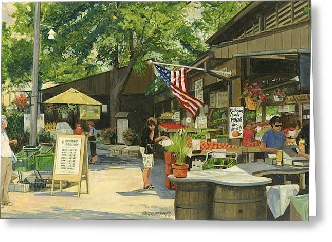 Kirkwood Farmers Market American Flag Greeting Card by Don  Langeneckert