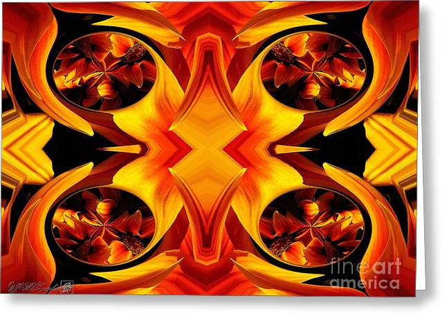 Proportionate Greeting Cards - Kiss Orange Flame Abstract Greeting Card by J McCombie