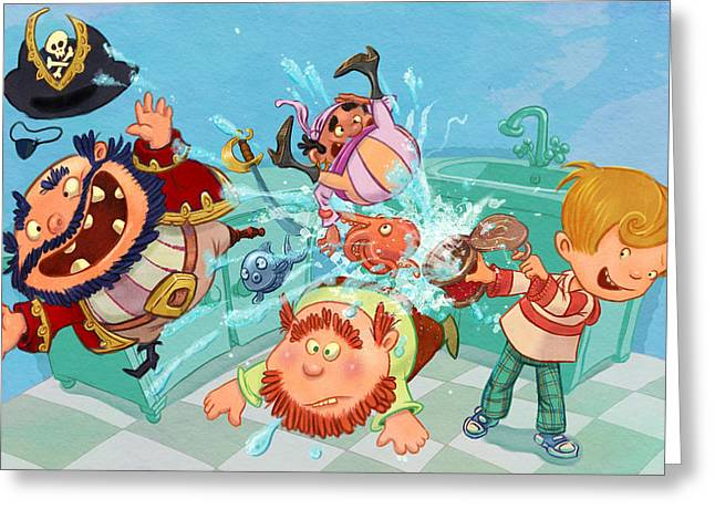 Andy Catling Greeting Cards - Kitchen Pirates Greeting Card by Andy Catling