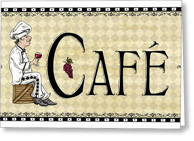 Italian Restaurant Mixed Media Greeting Cards - Kitchen Sign-Cafe Greeting Card by Shari Warren