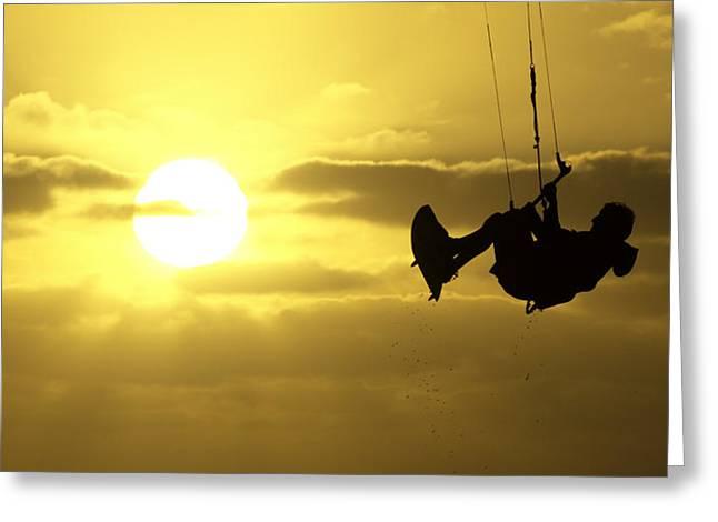 Kite Boarding Greeting Cards - Kite boarding at Sunset Greeting Card by Jay Droggitis