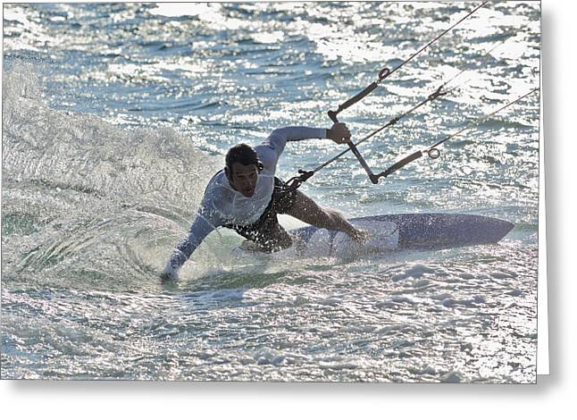 45-49 Years Greeting Cards - Kitesurfing Tarifa Cadiz Andalusia Spain Greeting Card by Ben Welsh