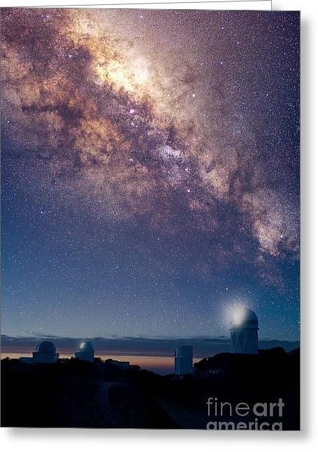Steward Greeting Cards - Kitt Peak Observatory And Milky Way Greeting Card by David Nunuk