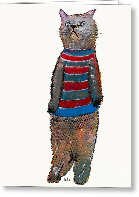 Cute Kitten Drawings Greeting Cards - Kitten Greeting Card by Bri Buckley