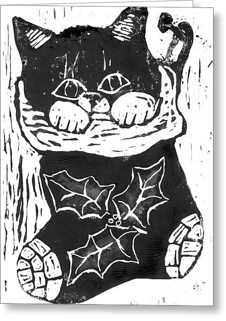 Relief Printing Greeting Cards - Kitten inside a Christmas Stocking Greeting Card by Ellen Miffitt