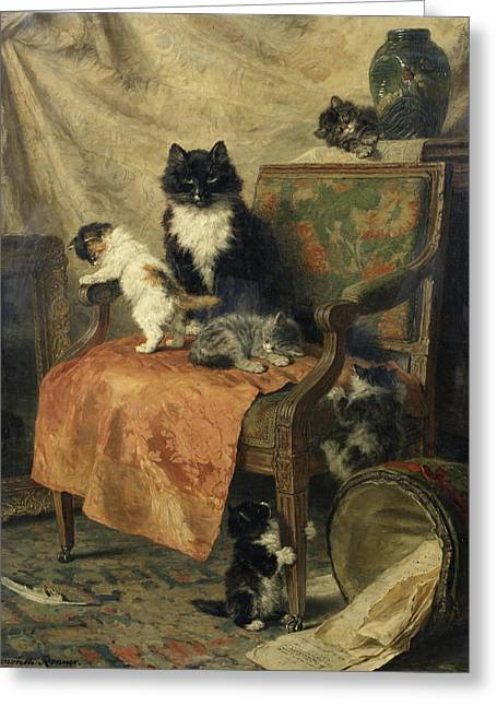 Henriette Greeting Cards - Kittens at play Greeting Card by Henriette Ronner-Knip
