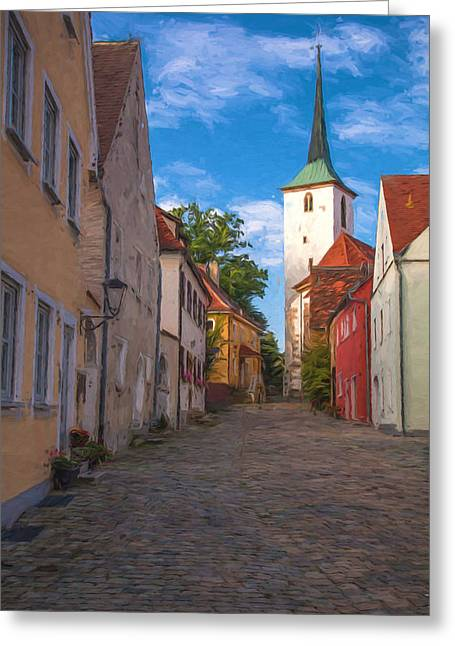 Oberpfalz Greeting Cards - Klostergasse Vilseck Greeting Card by Shirley Radabaugh