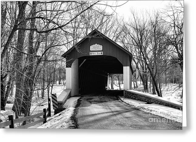 Old Country Roads Greeting Cards - Knechts Covered Bridge Greeting Card by Paul Ward