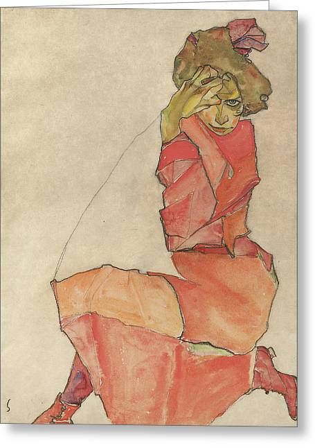 Basquiat Drawings Greeting Cards - Kneeling Female in Orange-Red Dress Greeting Card by Egon Schiele