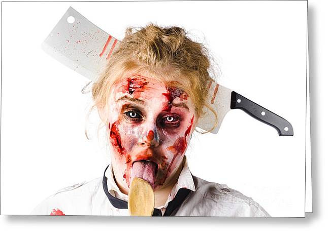 Take-out Photographs Greeting Cards - Knifed woman licking spoon Greeting Card by Ryan Jorgensen