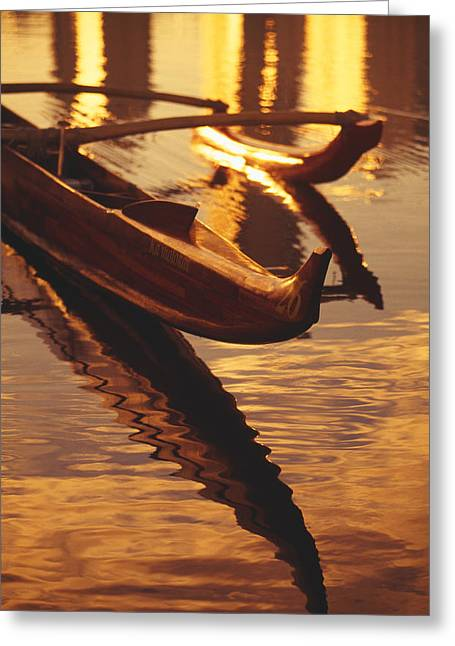 Recently Sold -  - Polish Culture Greeting Cards - Koa Outrigger Canoe Greeting Card by Dana Edmunds - Printscapes