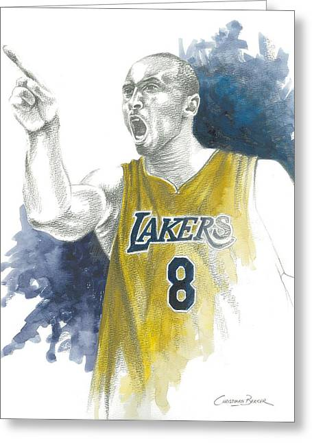 Lakers Greeting Cards - Kobe Bryant Greeting Card by Christiaan Bekker