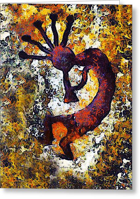 Kokopelli The Flute Player Greeting Card by Barbara Snyder