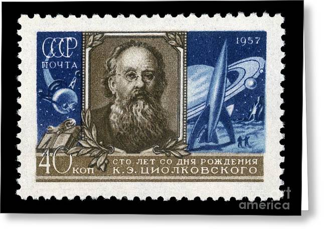 Disability Greeting Cards - Konstantin Tsiolkovsky On A Soviet Stamp Greeting Card by Detlev van Ravenswaay