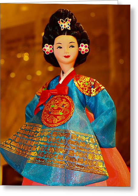 Tradional Greeting Cards - Korean Doll Greeting Card by Goy Tex