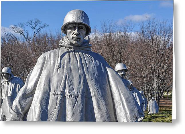 Bravery Greeting Cards - Korean War Memorial Greeting Card by Brandon Bourdages