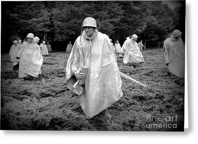 Bravery Greeting Cards - Korean War Veterans Memorial Greeting Card by Allen Beatty