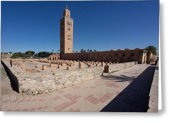 Marrakesh Greeting Cards - Koutoubia Minaret Built By Yacoub El Greeting Card by Panoramic Images