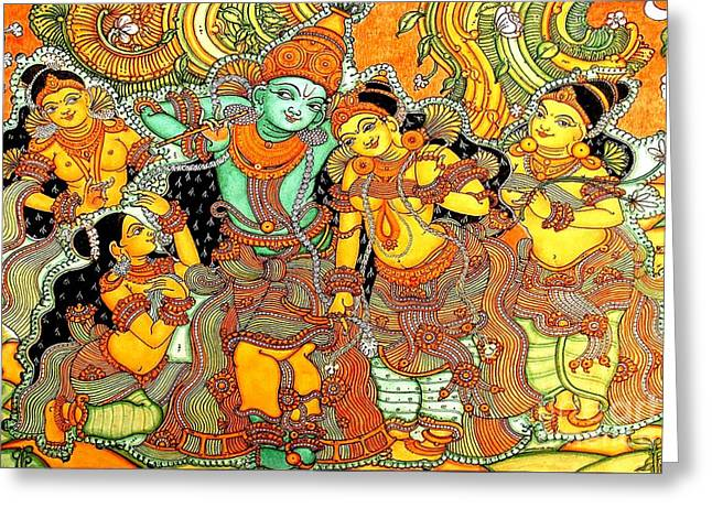 Kerala Murals Greeting Cards - Krishna in Vrindavan Greeting Card by Pg Reproductions