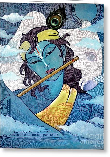 Praying Hands Paintings Greeting Cards - Krishna Greeting Card by Rajesh babu Ponnayyan