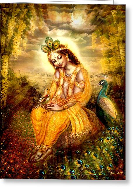 Blessing Greeting Cards - Krishna with the Peacock Greeting Card by Ananda Vdovic