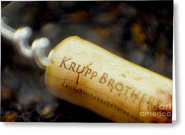 Red Wine Bottle Mixed Media Greeting Cards - Krupp Cork Greeting Card by Jon Neidert