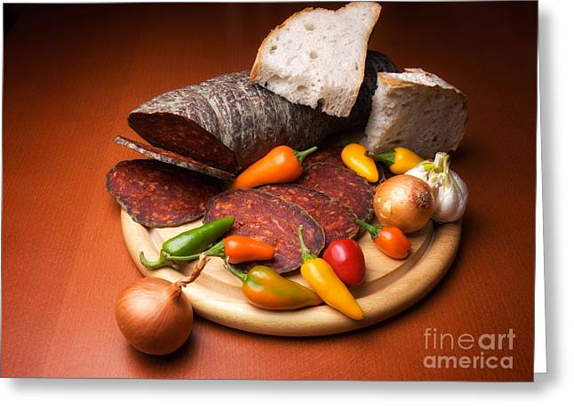 Delicatessen Meat Greeting Cards - Kulen and spices Greeting Card by Sinisa Botas