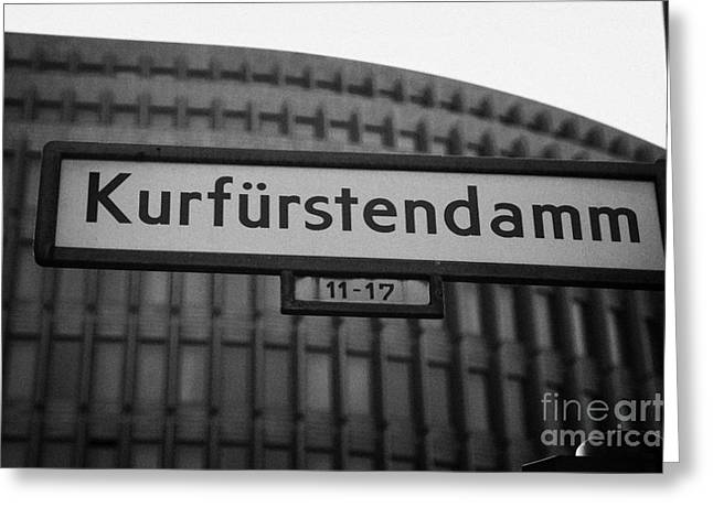 Kudamm Photographs Greeting Cards - Kurfurstendamm street sign Berlin Germany Greeting Card by Joe Fox