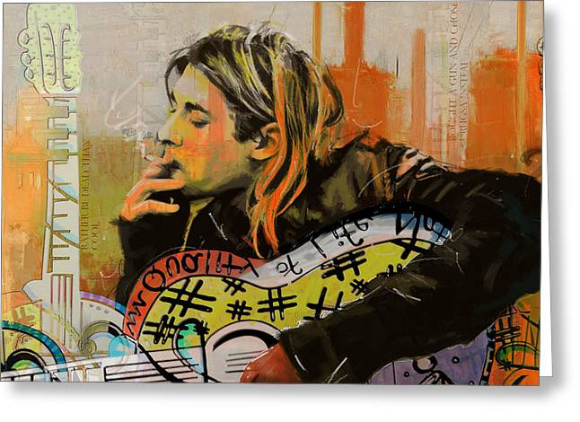 Lead Singer Greeting Cards - Kurt Cobain Greeting Card by Corporate Art Task Force