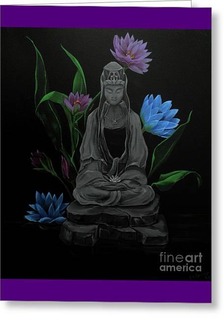 Kwan Yin Greeting Cards - Kwan Yin Greeting Card by D L Gerring