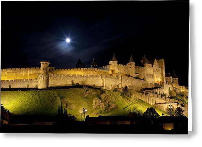 Languedoc Greeting Cards - La Cite de Carcassonne by night Greeting Card by Ruben Vicente