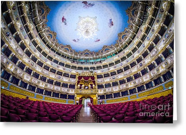 Cubicle Greeting Cards - La Fenice Theatre Venice Greeting Card by Paul and Helen Woodford
