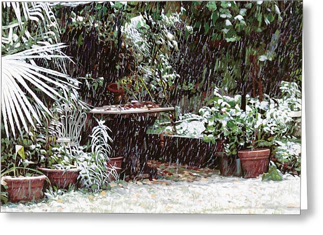 Falling Greeting Cards - La Neve Sotto La Topia Greeting Card by Guido Borelli