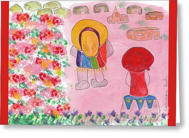 Poncho Paintings Greeting Cards - La rencontre / The Encounter Greeting Card by Dominique Fortier