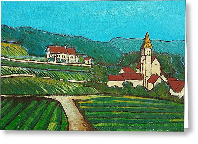 Route Des Vins Greeting Cards - La route des vins Greeting Card by Ludovic  Bezy