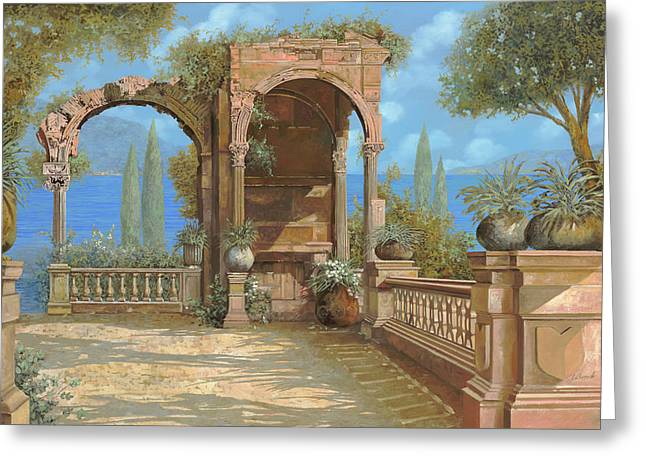 Ruins Paintings Greeting Cards - La Terrazza Sul Lago Greeting Card by Guido Borelli